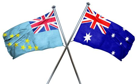 isolation backdrop: Tuvalu flag combined with australian flag