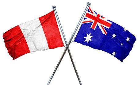 bandera de peru: bandera de Per� combina con bandera australiana Foto de archivo