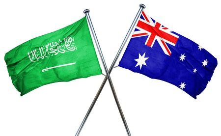 combined: Saudi Arabia flag combined with australian flag Stock Photo