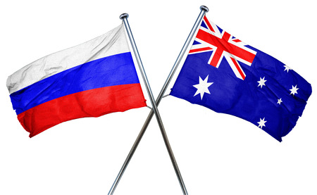 isolation backdrop: Russia flag combined with australian flag