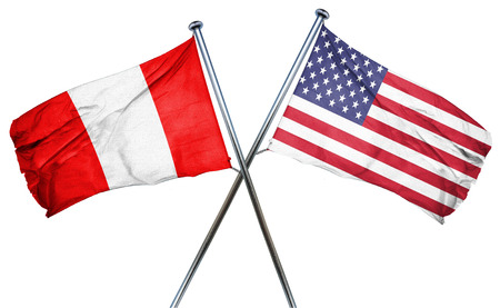 combined: Peru flag combined with american flag Stock Photo