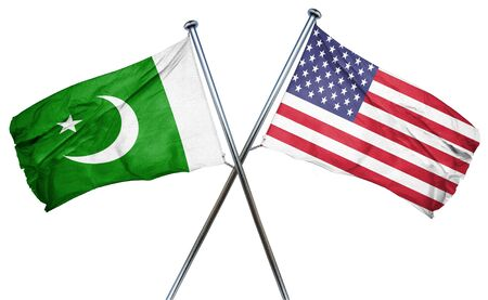isolation backdrop: Pakistan flag combined with american flag Stock Photo