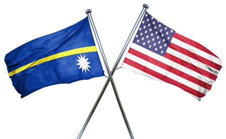 amity: Nauru flag combined with american flag Stock Photo