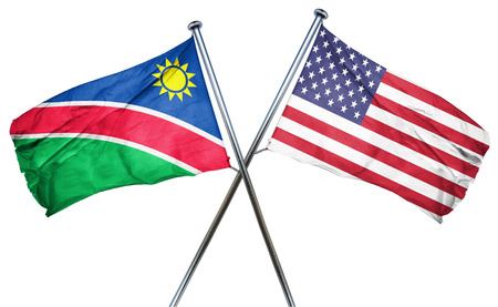 isolation backdrop: Namibia flag combined with american flag