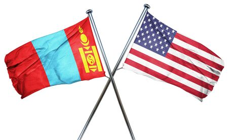 isolation backdrop: Mongolia flag combined with american flag