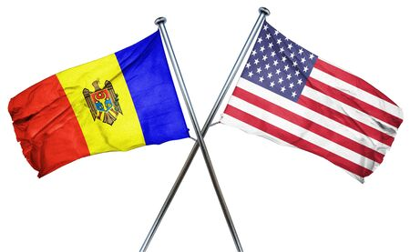 isolation backdrop: Moldova flag combined with american flag