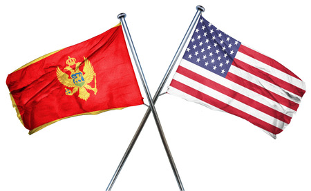 isolation backdrop: Montenegro flag combined with american flag Stock Photo