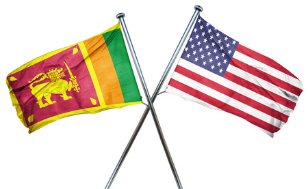 isolation backdrop: Sri lanka flag combined with american flag