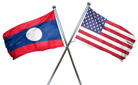 isolation backdrop: Laos flag combined with american flag
