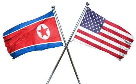 combined: North Korea flag combined with american flag