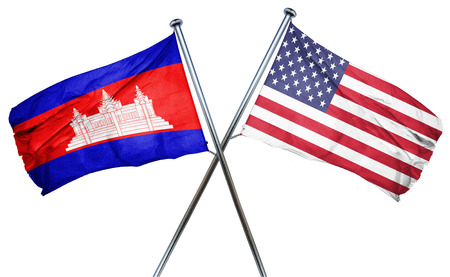 isolation backdrop: Cambodia flag combined with american flag Stock Photo