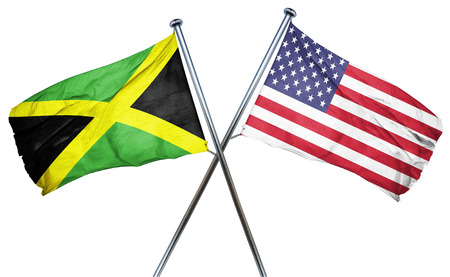 isolation backdrop: Jamaica flag combined with american flag