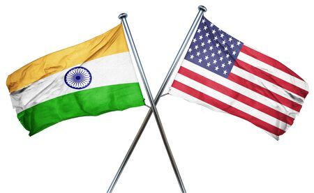 isolation backdrop: India flag combined with american flag Stock Photo