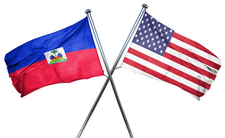 amity: Haiti flag combined with american flag
