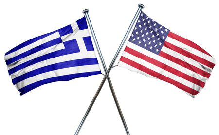 Greece flag combined with american flag