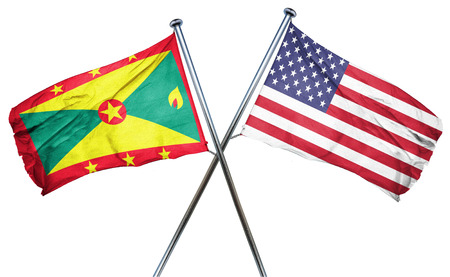 isolation backdrop: Grenada flag combined with american flag