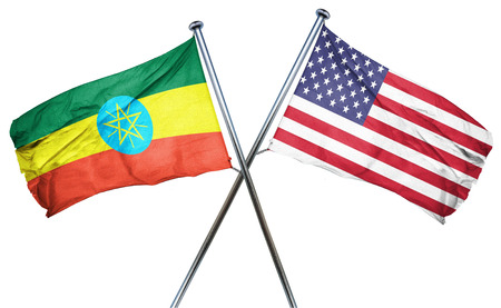 Ethiopia flag combined with american flag