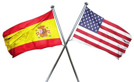spanish flag: Spanish flag combined with american flag Stock Photo