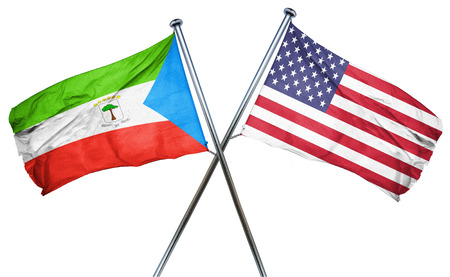 combined: Equatorial guinea flag combined with american flag Stock Photo