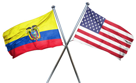 isolation backdrop: Ecuador flag combined with american flag Stock Photo