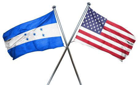 combined: Honduras flag combined with american flag Stock Photo