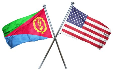 amity: Eritrea flag combined with american flag Stock Photo