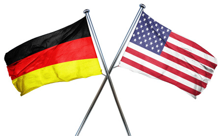isolation backdrop: German flag combined with american flag