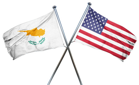 isolation backdrop: Cyprus flag combined with american flag Stock Photo