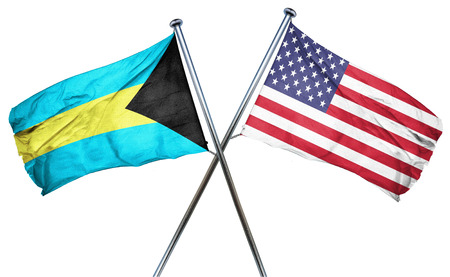 combined: Bahamas flag combined with american flag