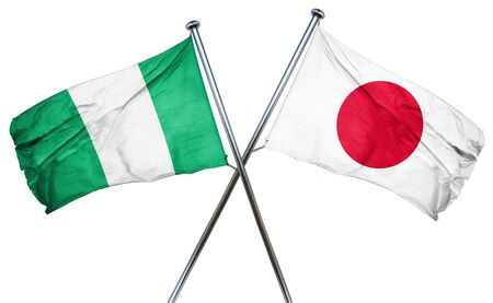 combined: Nigeria flag combined with japan flag Stock Photo