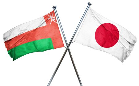 oman background: Oman flag combined with japan flag Stock Photo