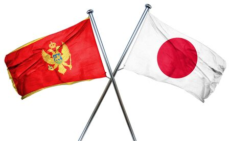 combined: Montenegro flag combined with japan flag Stock Photo
