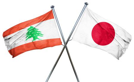 lebanon: Lebanon flag combined with japan flag Stock Photo