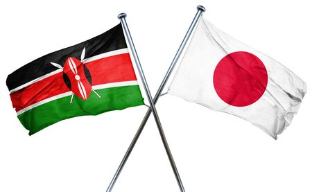 isolation backdrop: Kenya flag combined with japan flag Stock Photo
