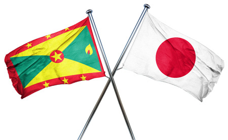 combined: Grenada flag combined with japan flag Stock Photo