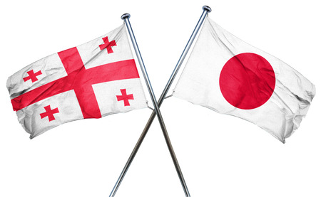 isolation backdrop: Georgia flag combined with japan flag Stock Photo
