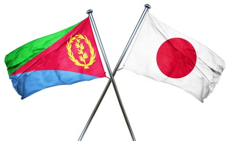 combined: Eritrea flag combined with japan flag Stock Photo
