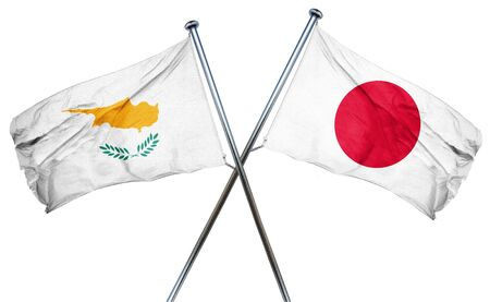 isolation backdrop: Cyprus flag combined with japan flag