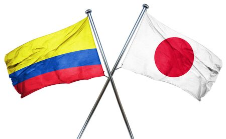 combined: Colombia flag combined with japan flag Stock Photo