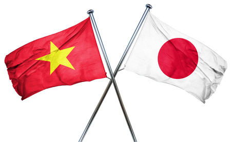 Vietnam flag combined with japan flag Stock Photo