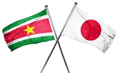 treaty: Suriname flag combined with japan flag Stock Photo