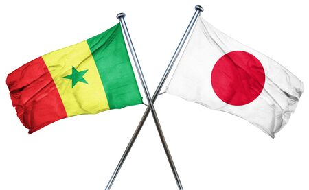 isolation backdrop: Senegal flag combined with japan flag Stock Photo
