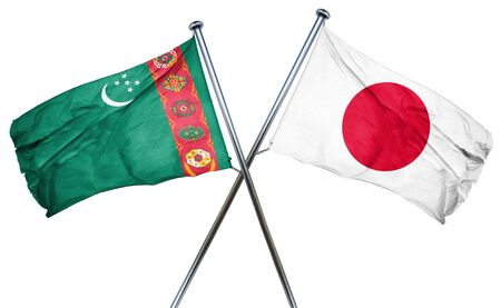 combined: Turkmenistan flag combined with japan flag Stock Photo