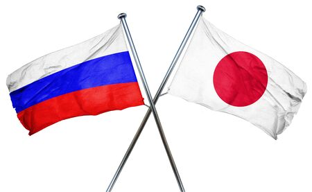 russia flag: Russia flag combined with japan flag Stock Photo