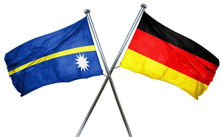 nauru: Nauru flag combined with germany flag Stock Photo