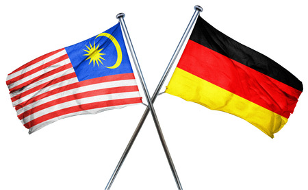 isolation backdrop: Malaysia flag combined with germany flag Stock Photo