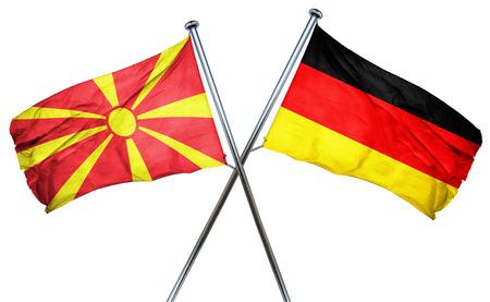 isolation backdrop: Macedonia flag combined with germany flag Stock Photo