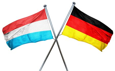 combined: Luxembourg flag combined with germany flag Stock Photo