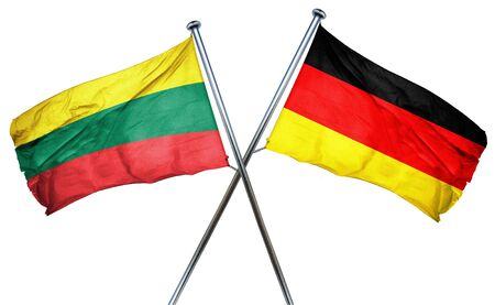 isolation backdrop: Lithuania flag combined with germany flag Stock Photo