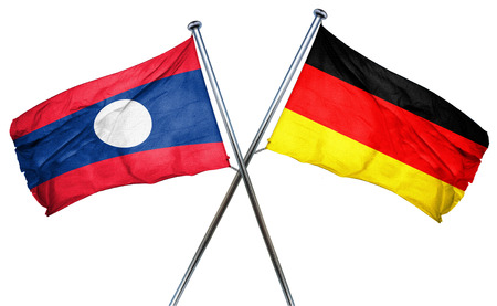 isolation backdrop: Laos flag combined with germany flag